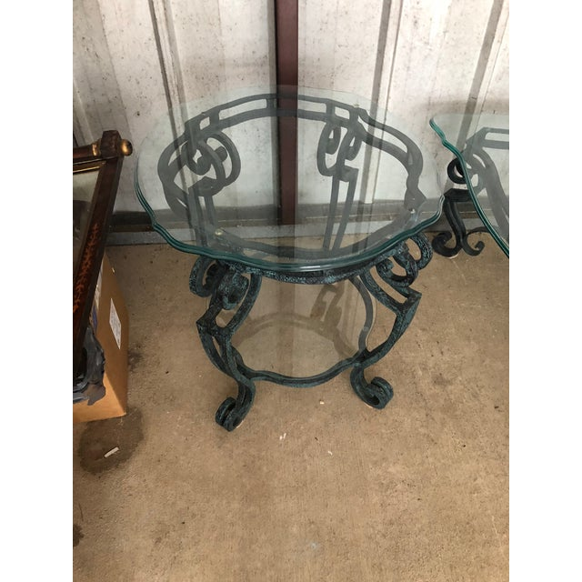 Turquoise Ballard Designs Scrolled Iron Cocktail Table & Side Table For Sale - Image 8 of 13