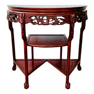 Chinese Rosewood Demilune Console Marble-Top Etagere Table For Sale