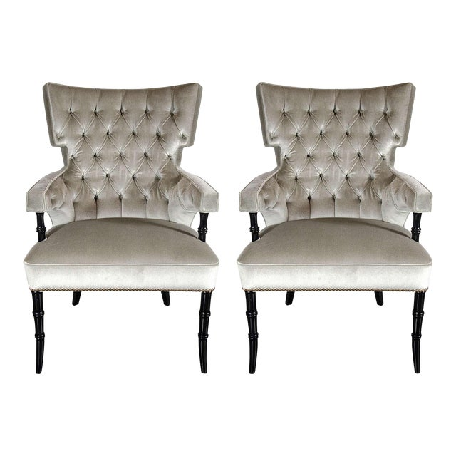 Pair of Mid-Century Modernist Tufted Klismos Chairs with Stylized Bamboo Legs For Sale