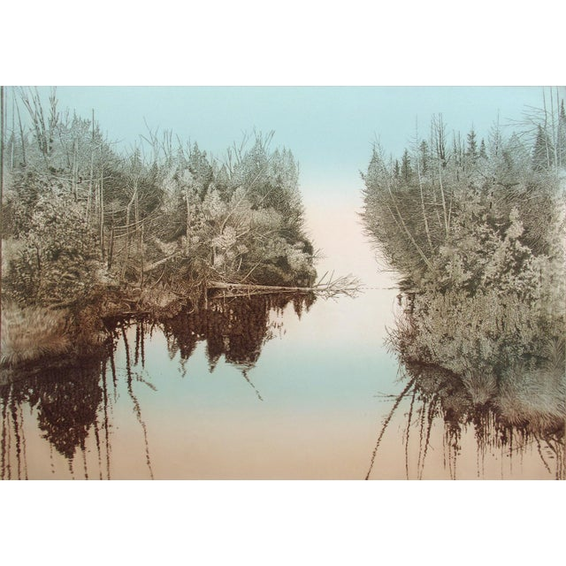 "Antonin Dimitrov ""Summer River, Morning"" Realism Hand Signed Unframed Etching, 1986 For Sale"