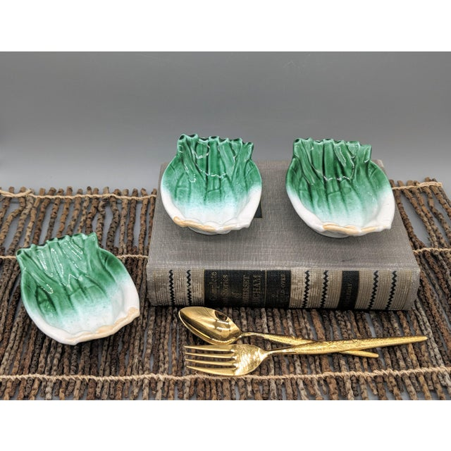 Lovely petite dipping bowls shaped like green onions. Made in Italy for Williams Sonoma. Late 20th century set that would...