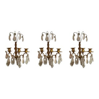 French Gilt Metal and Crystal Sconces, 19th Century - Set of 3 For Sale