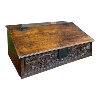 Antique English Carved Oak Bible Box Display Stand For Sale