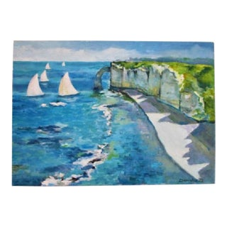 Original Painting Fine Art Ocean Coastal Scene of Cliffs, Sailboats and Blue Water Signed 27 X 20