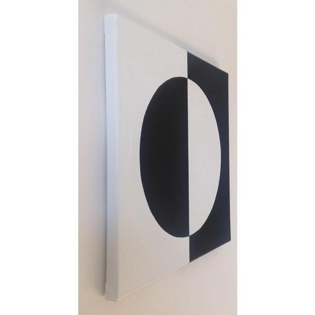 Modern Mirror Black & White Painting - Image 3 of 4