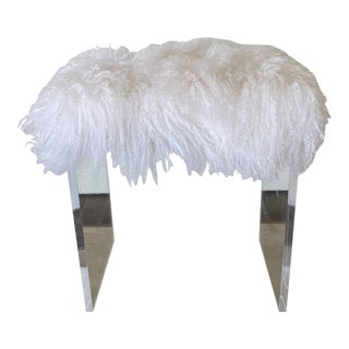 Lucite Custom Bench With Tibetan Fur For Sale