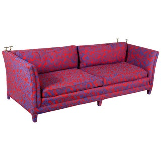 1980s Post-Modern Hollywood Regency Jacobean Coral Sofa