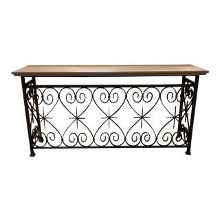 Artifacts Limestone Iron Console For Sale