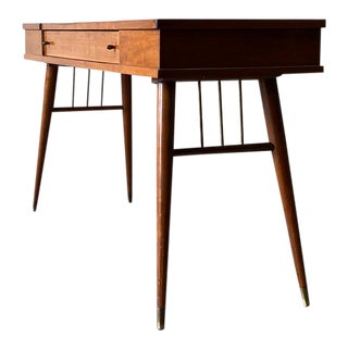 Mid Century Modern Walnut Console / Desk / Planter For Sale