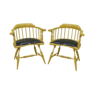 Duckloe Vintage Pair of Yellow Painted Black Leather Seat Windsor Arm Chairs