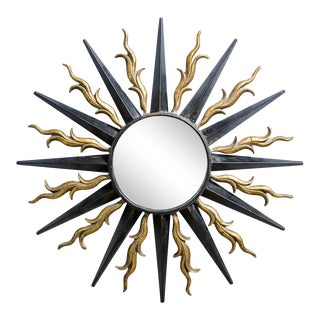 French Iron Sunburst Mirror in Black and Gold For Sale