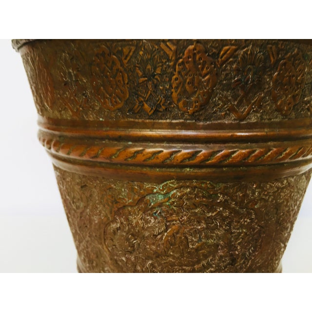 Anglo-Raj Mughal Metal Copper Vessel Bucket For Sale - Image 10 of 12