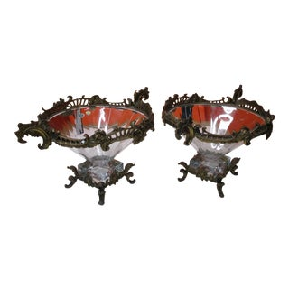 1940s Matched Bohemian Czech Clear Crystal Bowls With Bronze Ormolus - a Pair For Sale