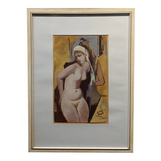 1890s Art Nouveau Painting by Otto Fuchs, Nude Female Changing Room For Sale