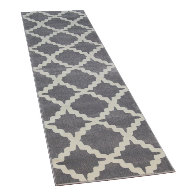 Gray Trellis Patterned Rug - 2'8''x10' - Image 1 of 4