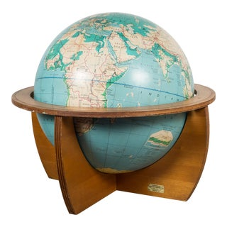 Mid-Century Denoyer-Geppert Globe on Wooden Stand by C.1960 For Sale
