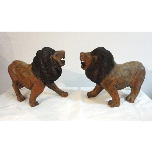 Pair of 19th Century Monumental Hand Carved & Painted Table Top Lions - Image 2 of 10