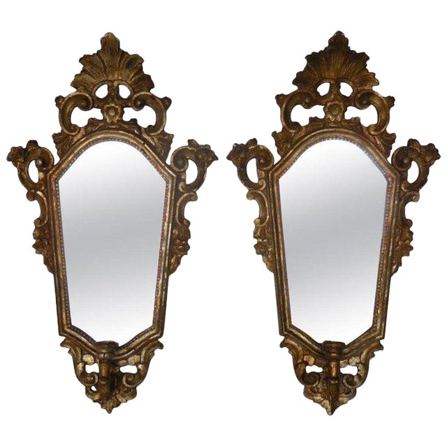 Pair of Italian Giltwood Mirrors For Sale