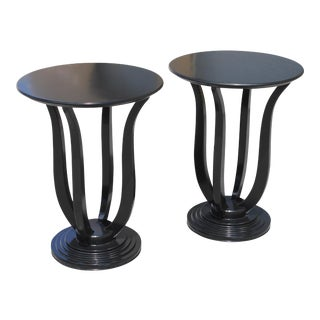 Beautiful Pair of French Art Deco ''Tulip'' Ebonized Coffee Table or Side Table , Circa 1940s For Sale