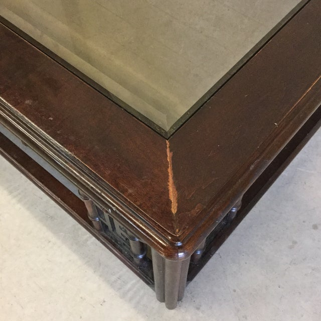 Mahogany Asian Style Glass Top Coffee Table For Sale In Richmond - Image 6 of 10