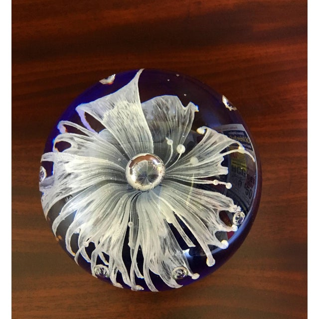 Cobalt Blue Glass Art Paper Weight With Fringed White Flower For Sale - Image 4 of 9