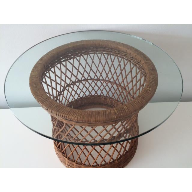 Boho Chic Vintage McGuire Rattan Round Side Table For Sale - Image 3 of 5
