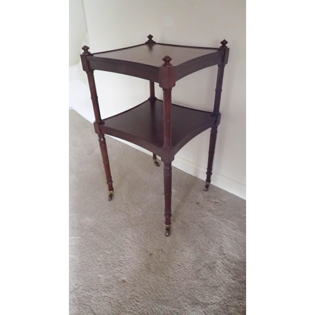 Baker Tea Cart Faux-Bamboo Mid-Century Modern Style C.1980's Mahogany Excellent - Image 5 of 5