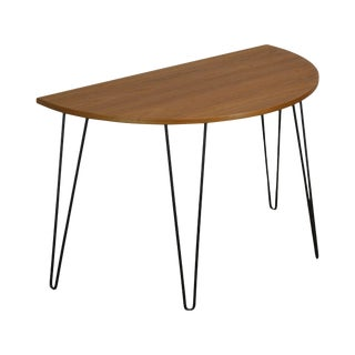 Danish Modern Style Demilune Teak Console Table With Iron Hair Pin Legs For Sale