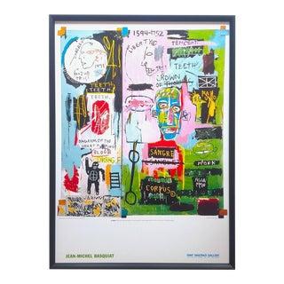 "Jean Michel Basquiat Estate Rare Vintage 1999 Lithograph Print Framed Tony Shafrazi Gallery Poster "" in Italian "" 1983 For Sale"