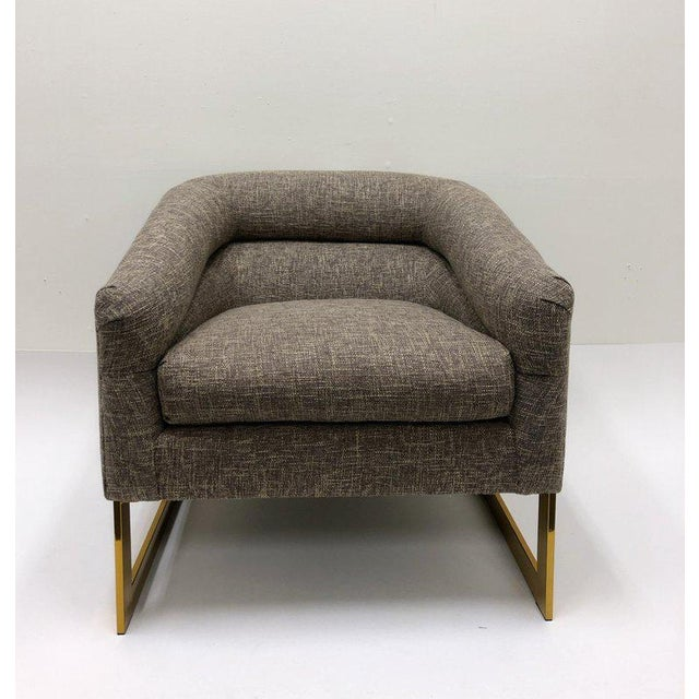 Brass Milo Baughman Brass and Fabric Lounge Chairs - a Pair For Sale - Image 7 of 9