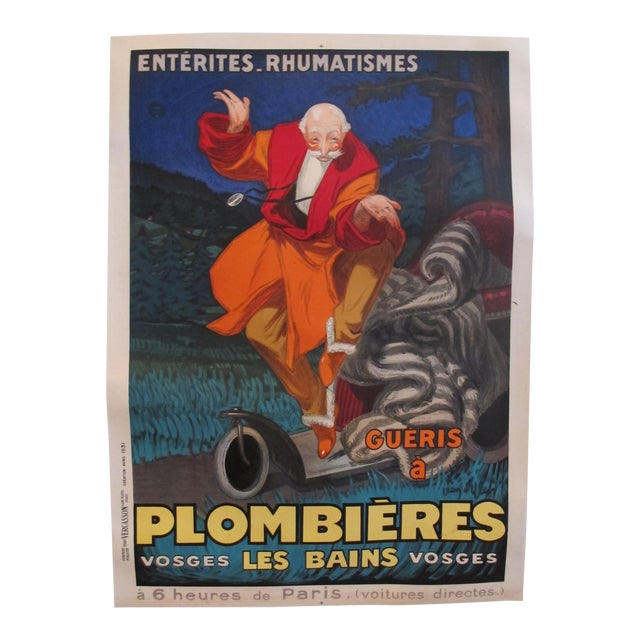 1931 Vintage French Travel Poster, Plombieres Les Bains by Jean d'Ylen For Sale