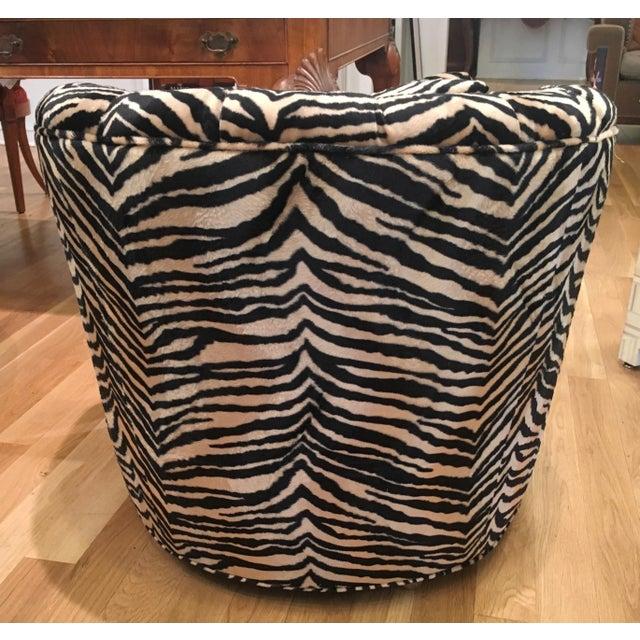 Tufted Zebra Swivel Club Chairs - Pair - Image 6 of 9