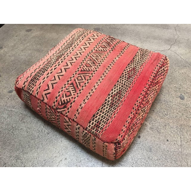 Islamic Moroccan Floor Pillow Tribal Seat Cushion Made From a Vintage Berber Rug For Sale - Image 3 of 13