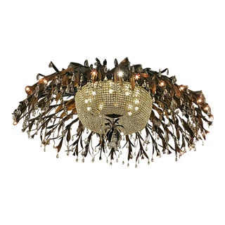 Monumental Bronze and Floral Crystal Chandelier With Provenance For Sale