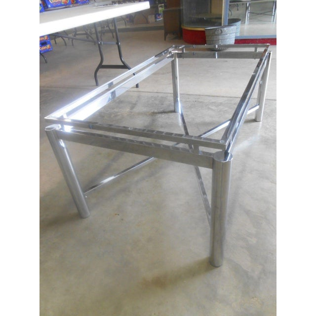 Transparent Vintage Mid-Century Modern Chrome & Floating Glass Top Coffee Table For Sale - Image 8 of 9