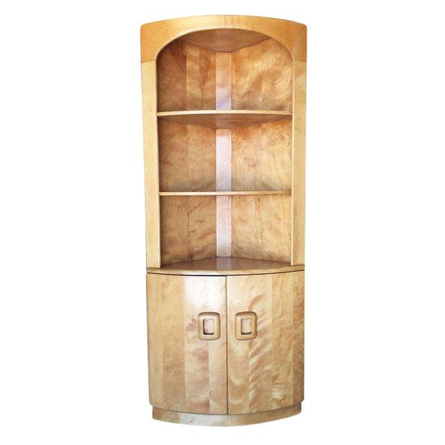 Heywood-Wakefield Blonde Streamline Maple Corner Cupboard Cabinet - Image 1 of 8