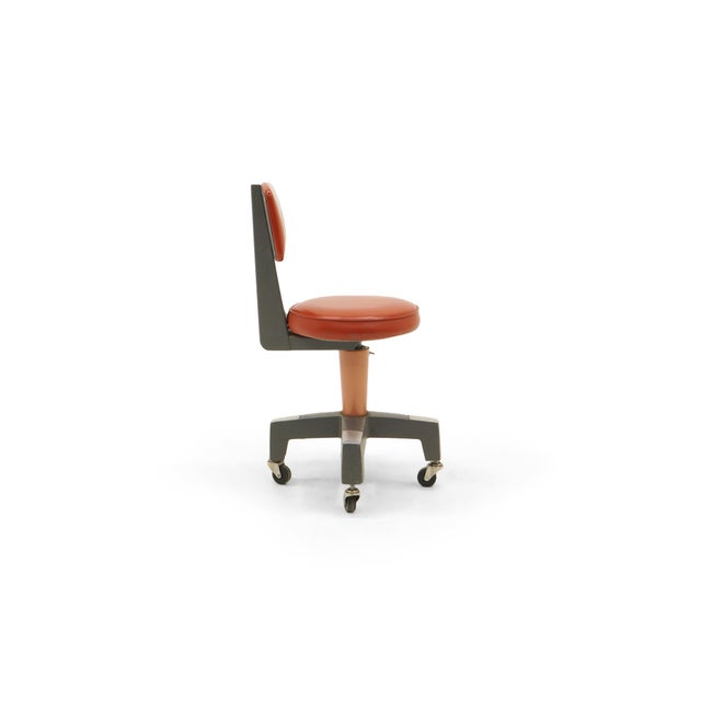 Industrial Design Swivel Chair on Casters by American Optical Corp Red Orange For Sale - Image 11 of 11