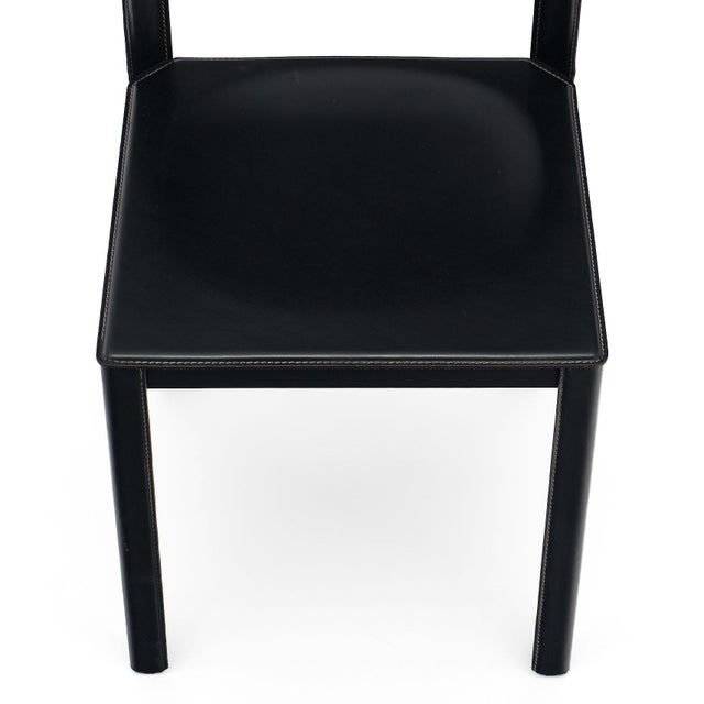 1970s Vintage Black Leather Saporiti Chairs - Set of 4 For Sale - Image 5 of 10