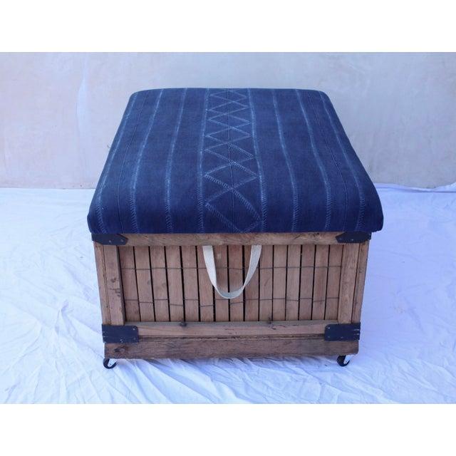 Trend Shake 40 Indigo Home Décor Ideas: African Indigo Upholstered Storage Ottoman