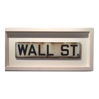Vintage Framed Wall Street sign For Sale