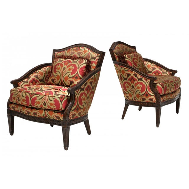 Designer Louis XVI Style Lounge Armchairs - A Pair - Image 1 of 5