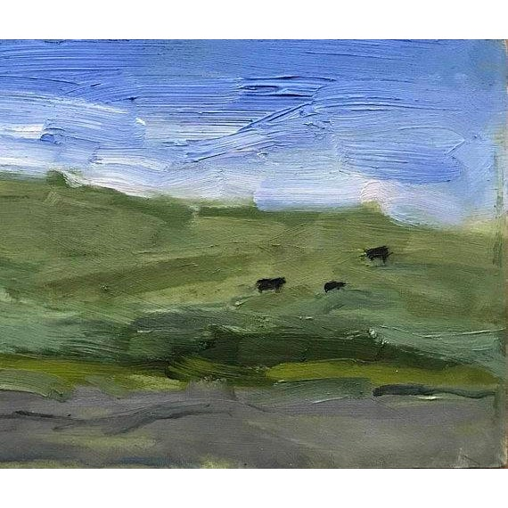 "Abstract ""Yolo County Cows"" Oil Painting For Sale - Image 3 of 11"