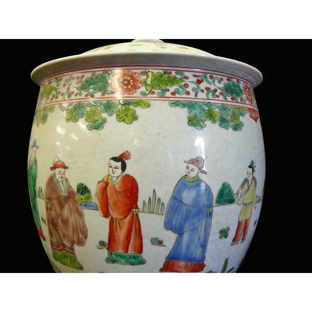 Chinese Porcelain Color People Gathering Scenery Pot For Sale - Image 4 of 7