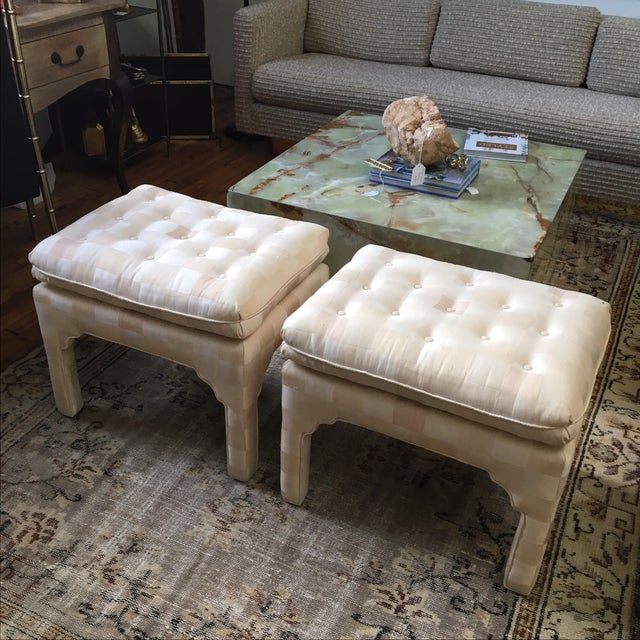 Islamic Tufted Moroccan Style Ottoman Benches - Pair For Sale - Image 3 of 7