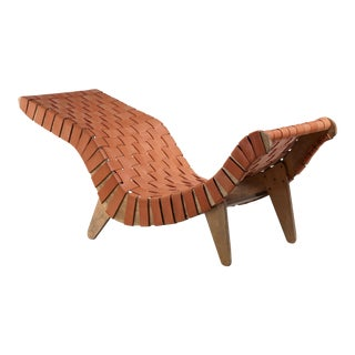 Klaus Grabe Chaise Longue with Leather Webbing, USA, 1948 For Sale
