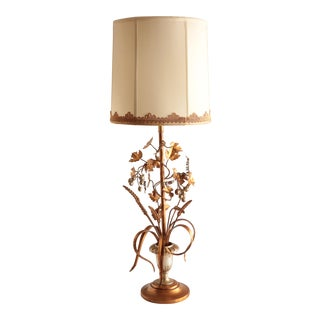 Italian Tole Gilt Metal Lamp With Wheat & Grapes For Sale