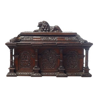 19th C. French Carved Walnut Box With Lion Motif For Sale
