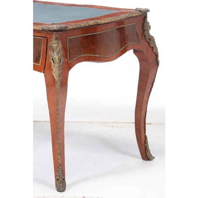 Vintage Louis XV Style Gilt-Metal Mounted Bureau Plat Writing Desk For Sale - Image 6 of 9