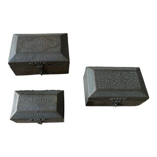 Turkish Ottoman Aged Brass Decorative Boxes - Set of 3 For Sale
