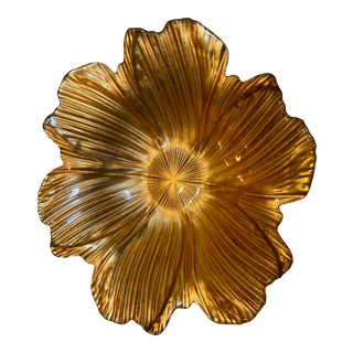 Gold Glass Floral Bowl For Sale